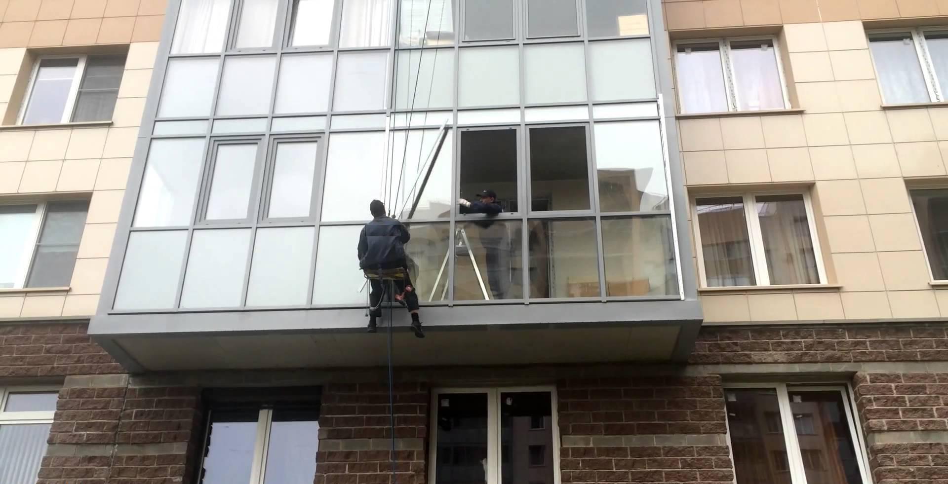 Замена стеклопакетов в фасадном алюминии.